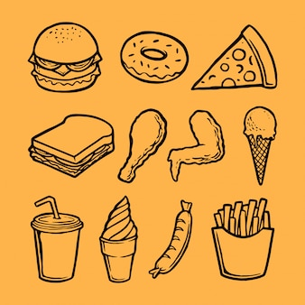 Verzameling van fastfood-element