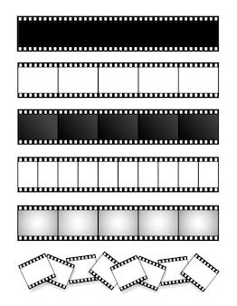 Verzameling van filmstrip, film, foto