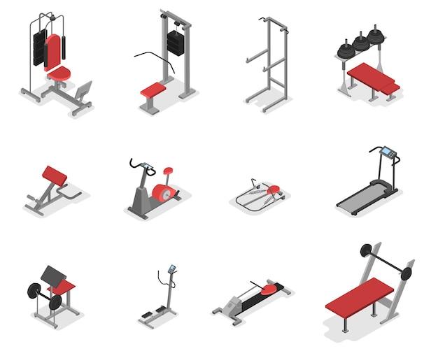 Verzameling van fitnessapparaten voor de sportschool. uitrustingsset voor fitness en spieropbouw. idee van een gezonde levensstijl. ector isometrische illustratie