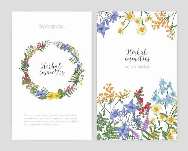 Verzameling van flyer- of postersjablonen met frame gemaakt van bloeiende wilde weidebloemen, ronde bloemenkrans en plaats voor tekst. elegante bloemen vectorillustratie voor reclame voor kruidencosmetica