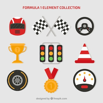 Verzameling van formule 1 elementen in vlakke stijl