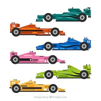 Verzameling van formule 1 racewagens