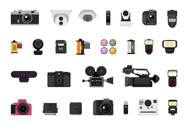 Verzameling van foto- en videoapparatuur.