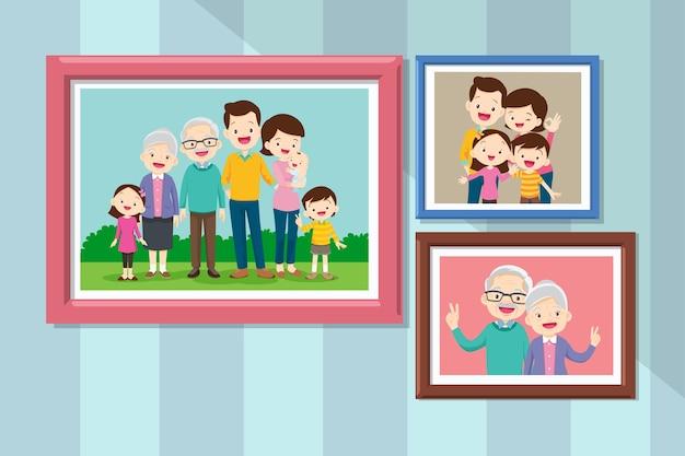 Verzameling van foto's van familieleden in lijsten. bundel van ingelijste muurplaatjes of foto's met lachende mensen. grootmoeder en grootvader samen in fotolijst.