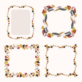 Verzameling van frames met kleurrijke val bladeren
