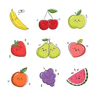 Verzameling van fruit dat positieve emoties uitdrukt. set tekeningen met fruit en bessen in kawaiistijl.