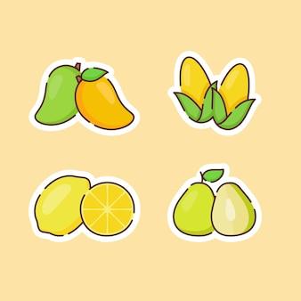 Verzameling van fruit geïsoleerd op beige
