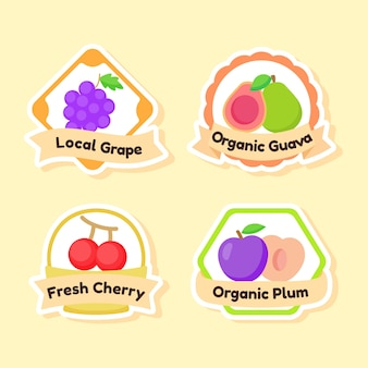 Verzameling van fruit label geïsoleerd op geel