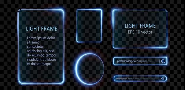 Verzameling van futuristische hud lichtblauw frame hud png technologische achtergrond licht glas blauw
