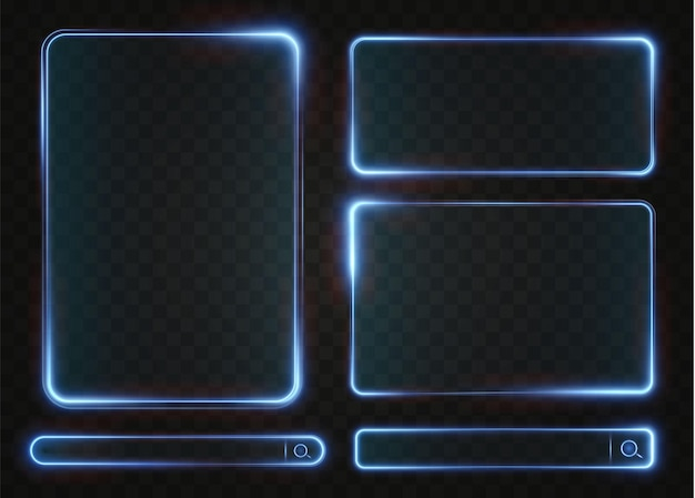 Verzameling van futuristische hud lichtblauw frame technologische achtergrond lichte glazen blauwe frames, frame png
