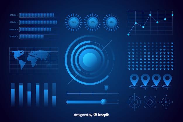 Verzameling van futuristische infographic elementen