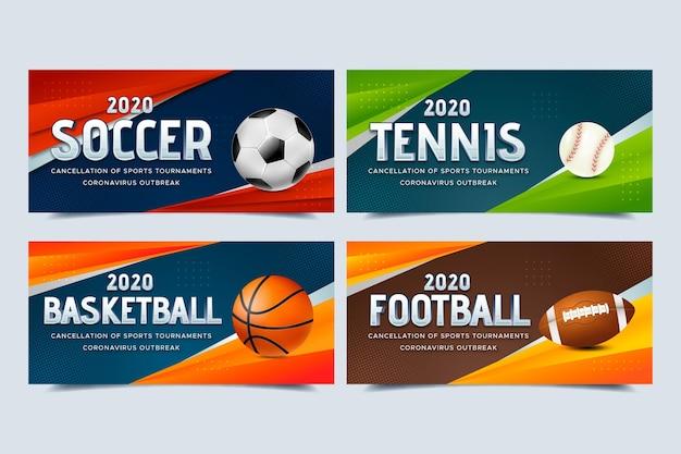 Verzameling van geannuleerde banners voor sportevenementen
