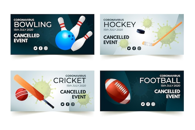 Verzameling van geannuleerde sportevenementen banner