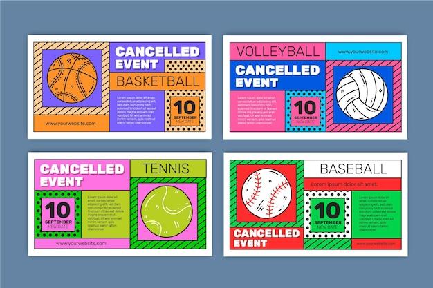 Verzameling van geannuleerde sportevenementen - banners
