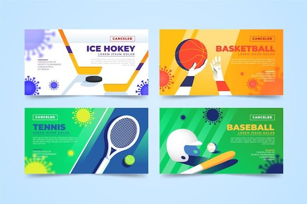 Verzameling van geannuleerde sportevenementenbanners