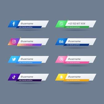 Verzameling van gebruikersnamen voor verschillende sociale mediaplatforms