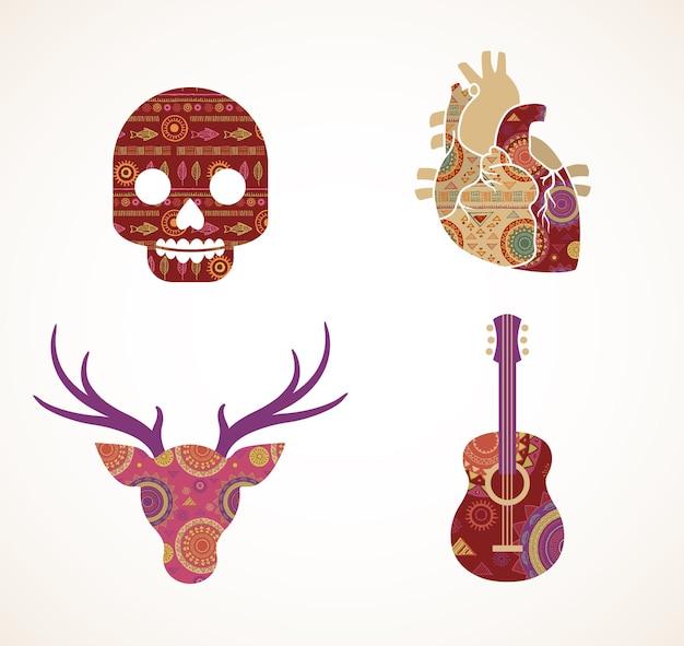 Verzameling van gedessineerde bohemien tribale iconen