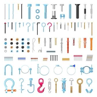 Verzameling van gedetailleerde bevestigingsmiddelen en schroeven