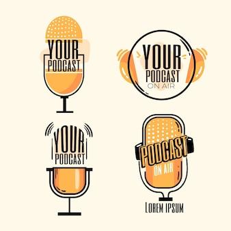 Verzameling van gedetailleerde podcast-logo's