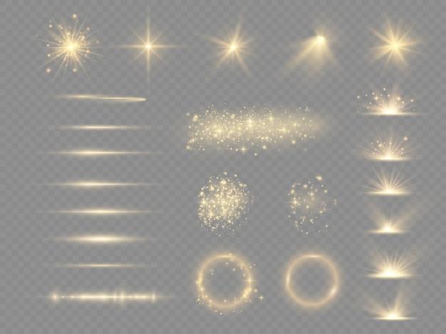 Verzameling van geel lichteffect. schijnwerpers, flare, explosie en sterren. laserstralen, horizontale lichtstralen. sprankelend geel stof.