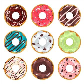 Verzameling van geglazuurde gekleurde donuts vector.