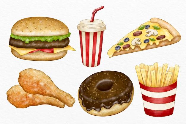 Verzameling van geïllustreerde fastfood
