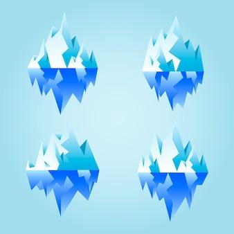Verzameling van geïllustreerde ijsbergen