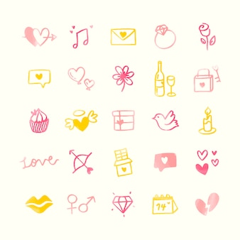 Verzameling van geïllustreerde valentine