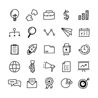 Verzameling van geïllustreerde zakelijke pictogrammen