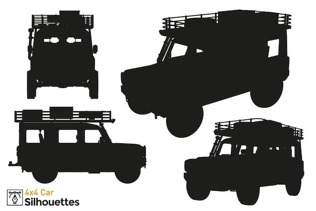 Verzameling van geïsoleerde 4x4 autosilhouetten.