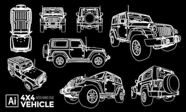 Verzameling van geïsoleerde 4x4 voertuigweergaven. marker effect tekeningen. bewerkbare gekleurde silhouetten.