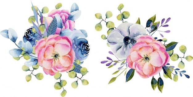 Verzameling van geïsoleerde aquarel boeketten van anemonen en eucalyptus
