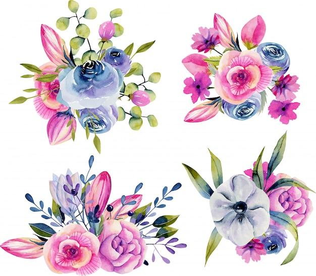 Verzameling van geïsoleerde aquarel boeketten van anemonen, rozen en pioenrozen