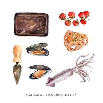 Verzameling van geïsoleerde aquarel mossel, inktvis illustratie voor decoratief gebruik.