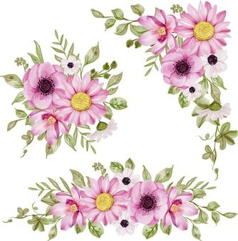 Verzameling van geïsoleerde bloemstuk roze bloemen en groen blad aquarel