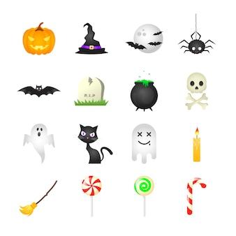 Verzameling van geïsoleerde cartoon halloween pictogrammen op witte achtergrond. vector illustratie.