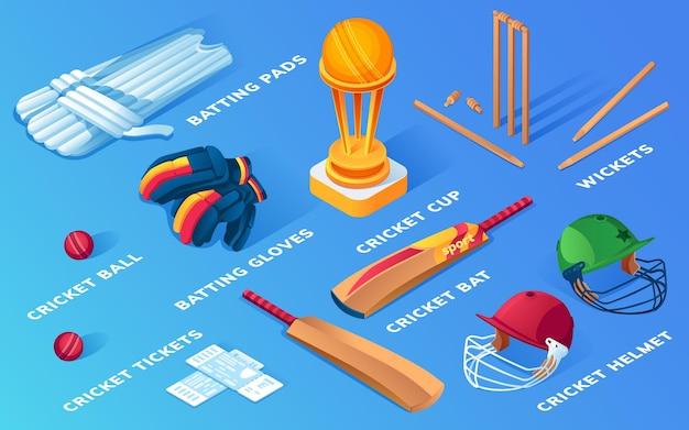 Verzameling van geïsoleerde cricket items of balsportuitrusting