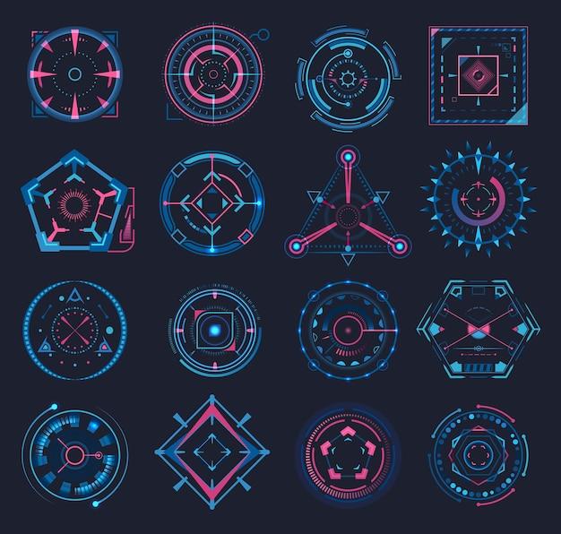 Verzameling van geïsoleerde doel of game crosshair