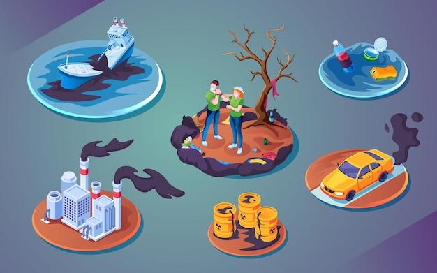 Verzameling van geïsoleerde ecologie catastrofe of vervuiling ramp milieuschade of besmetting door ongevallen