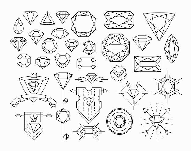 Verzameling van geïsoleerde edelstenen en dunne lijn ontwerpelementen, emblemen met diamanten.