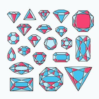 Verzameling van geïsoleerde edelstenen, kleur lijn emblemen met diamanten.