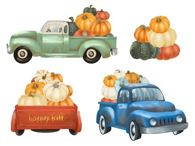 Verzameling van geïsoleerde handgeschilderde vintage vrachtwagens met pompoenen oogst clipart