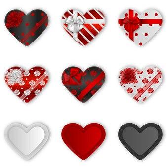 Verzameling van geïsoleerde hartvormige geschenkdozen. valentijnsdag geschenkdozen
