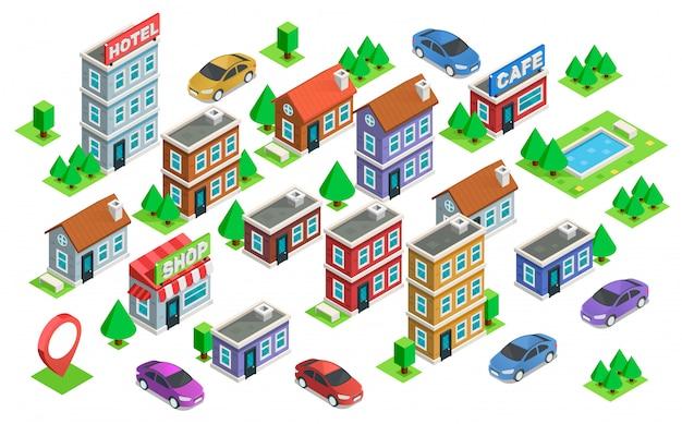 Verzameling van geïsoleerde isometrische huizen, auto's en bomen. ontwerpelementen met isometrisch gebouw. stadsplattegrond generator. geïsoleerde collectie voor uw perfecte ontwerp.