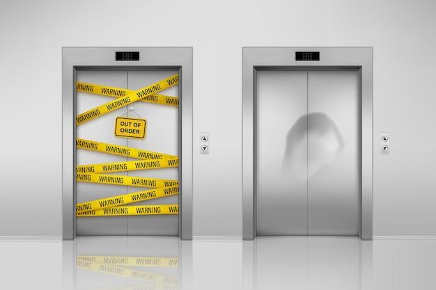 Verzameling van geïsoleerde kapotte liften met gesloten deuren. liftonderhoud met ducttape en deuk op deur. realistisch stalen binnentransport buiten gebruik. kantoor of gebouw, hotelhal en poort, deuropening
