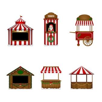Verzameling van geïsoleerde kerststalletjes kaartjes stand markt en kermis stands vector