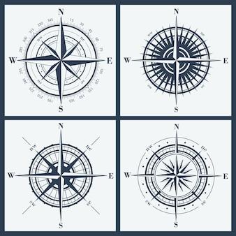 Verzameling van geïsoleerde kompasrozen of windrozen. vector illustratie.