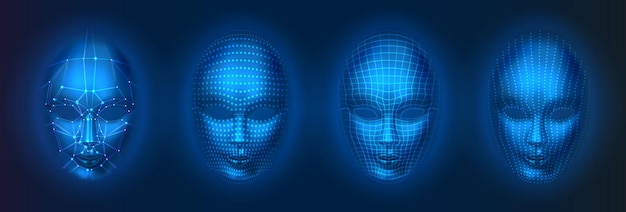 Verzameling van geïsoleerde mens of robot, kunstmatige intelligentie gezichten met stippen en lijnen. gezichtsscan met ai, hoofdverificatietechnologie, herkenningsconcept.