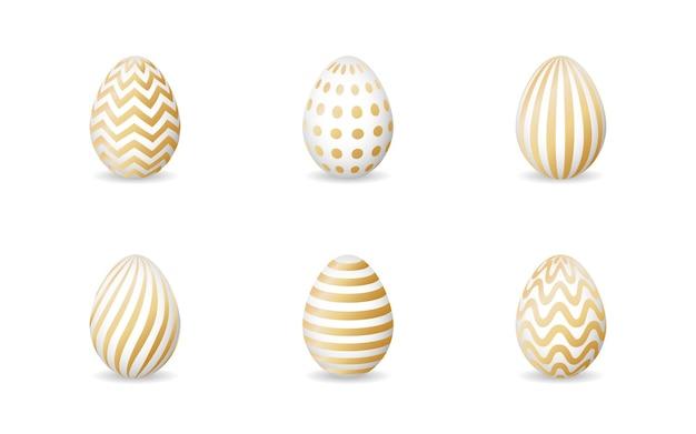 Verzameling van geïsoleerde moderne paaseieren met geometrische gouden ornamenten op wit.