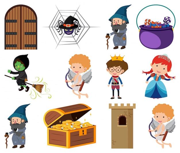 Verzameling van geïsoleerde objecten thema sprookjes
